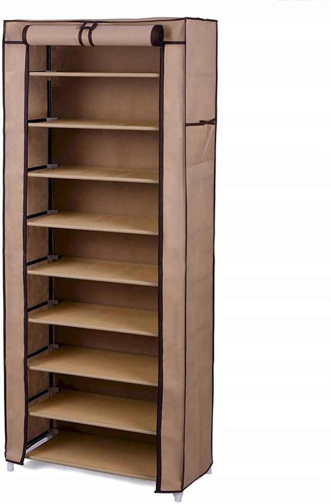 Szafa materiałowa na buty z 10 półkami brązowa 58x