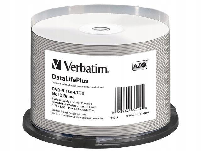 DVD-R VERBATIM 4.7GB X16 AZO DL+ PRINTABLE THERMAL