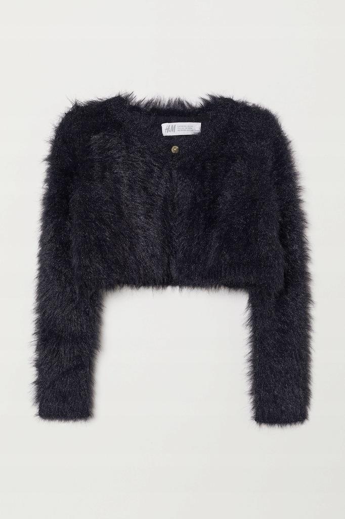 H&M śliczne czarne PUSZYSTE bolerko r 134/140