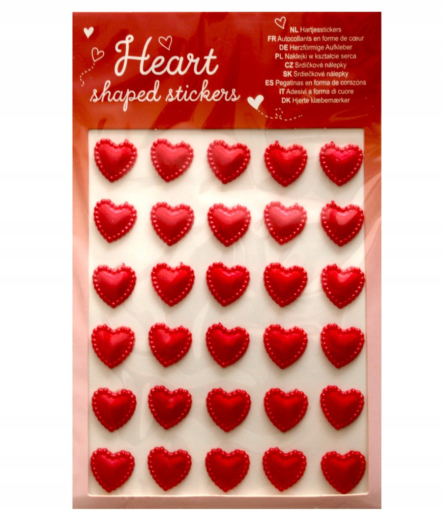 Zestaw naklejek 3D serca czerwone 30 sztuk!
