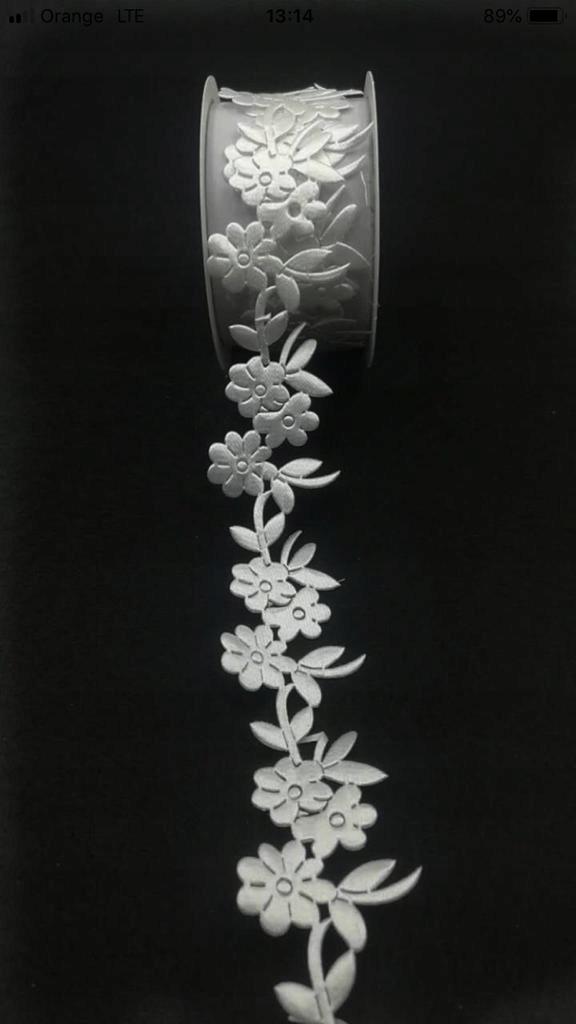 Ozdobna wstążka biała, eleganckie wykończenie 1m