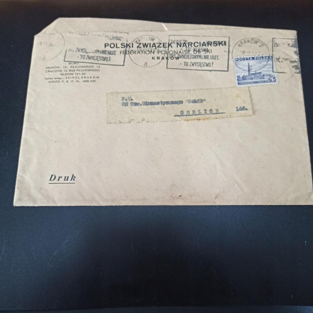Koperta Polski Związek Narciarski Kraków 1938