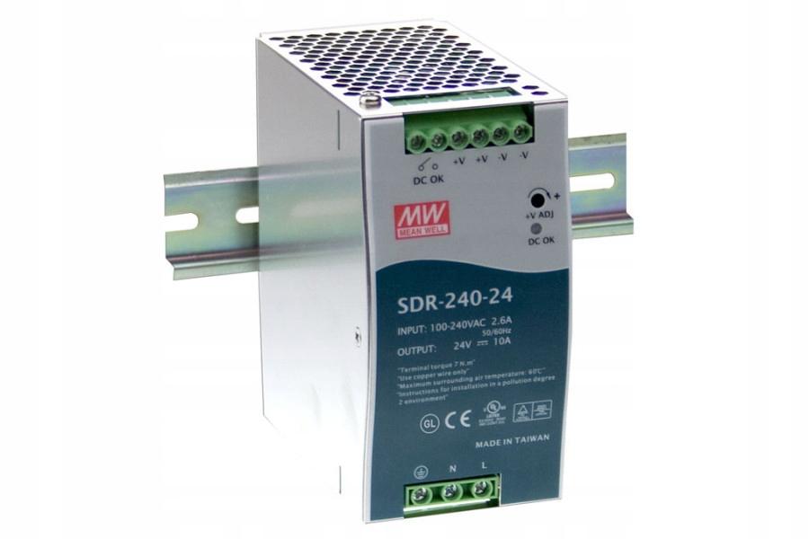 MEAN WELL SDR-240-24 ZASILACZ DIN 240W 24VDC 10A