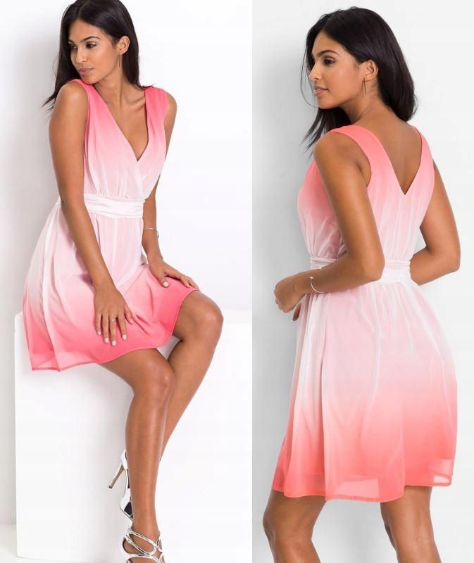 Różowa sukienka ombre firmy Bonprix