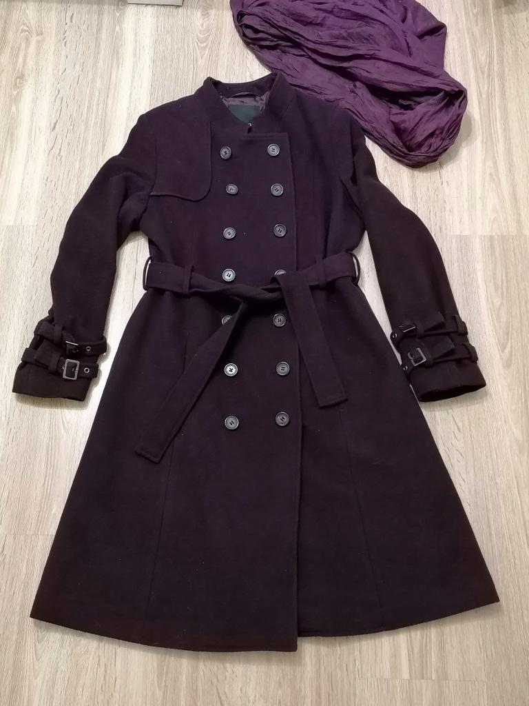 Feraud Wool kaszmir klasyczny płaszcz bakłażan