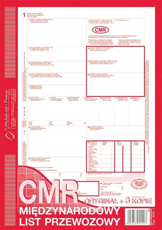 Międzynarodowy List Przewozowy CMR A4 x 200 kartek