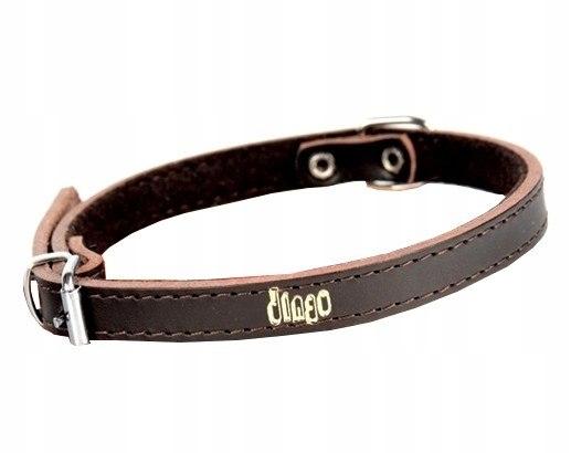 Dingo Obroża skórzana podszyta filcem 1,0x33cm brą