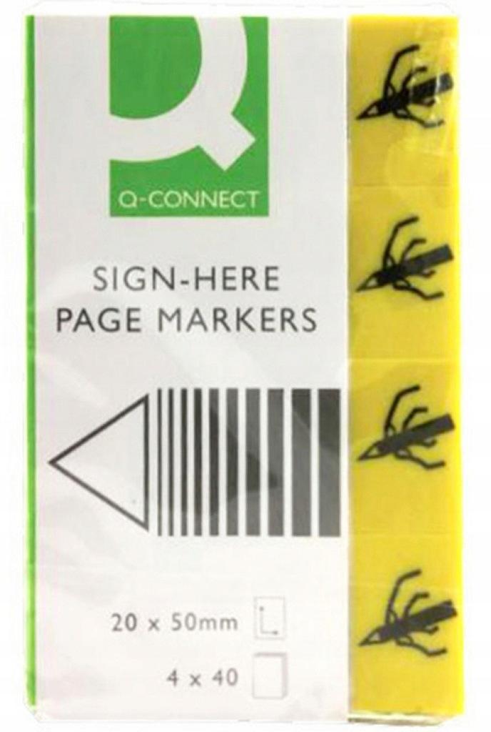 Zakładki Q-CONNECT Sign-here, papier, 20x45mm, 4x4