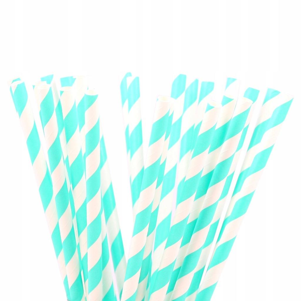 SŁOMKI papierowe białe seledynowe paski urodziny