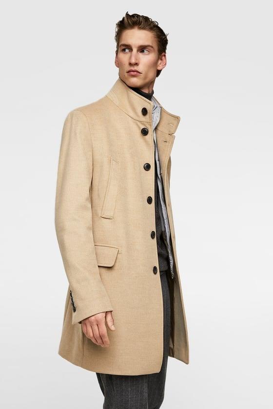 ZARA płaszcz jasny camel XL z kamizelką.