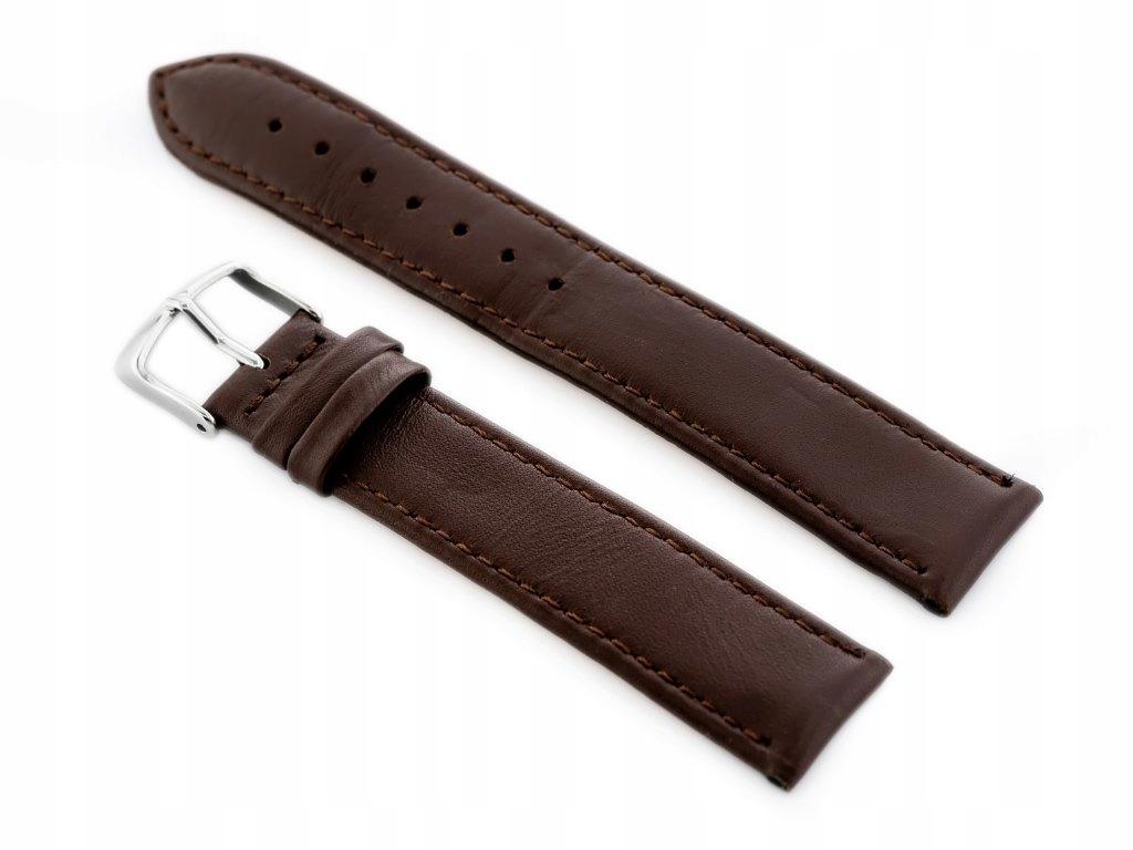 Pasek skórzany do zegarka W44L ciemny brąz - 20mm