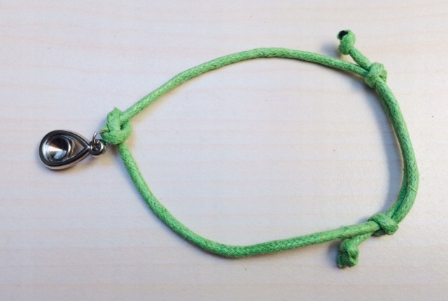 Zielona BRANSOLETKA sznurkowa OCZKO