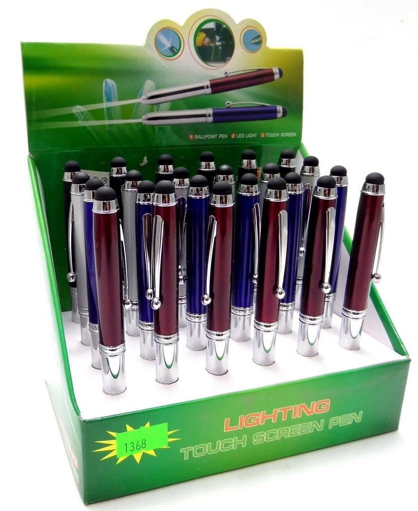 Długopis 3w1z latarką touch mix hurt 24szt /3,00zł