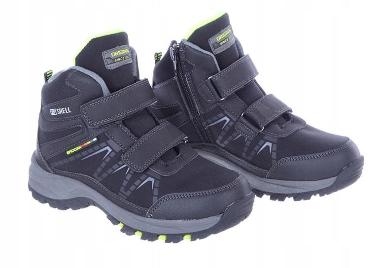 Buty Dziecięce zimowe na rzep czarno-zielone 36