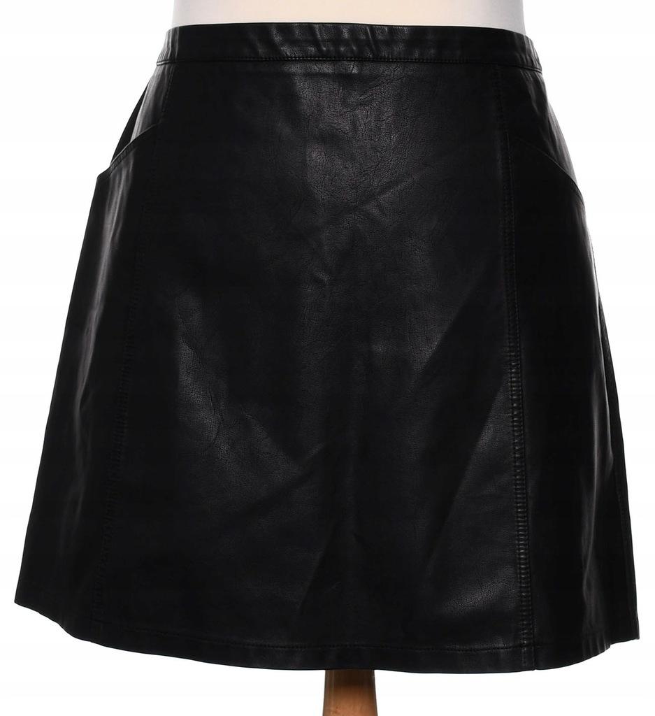 NEW LOOK czarna mini spódniczka z ekoskóry 48 50