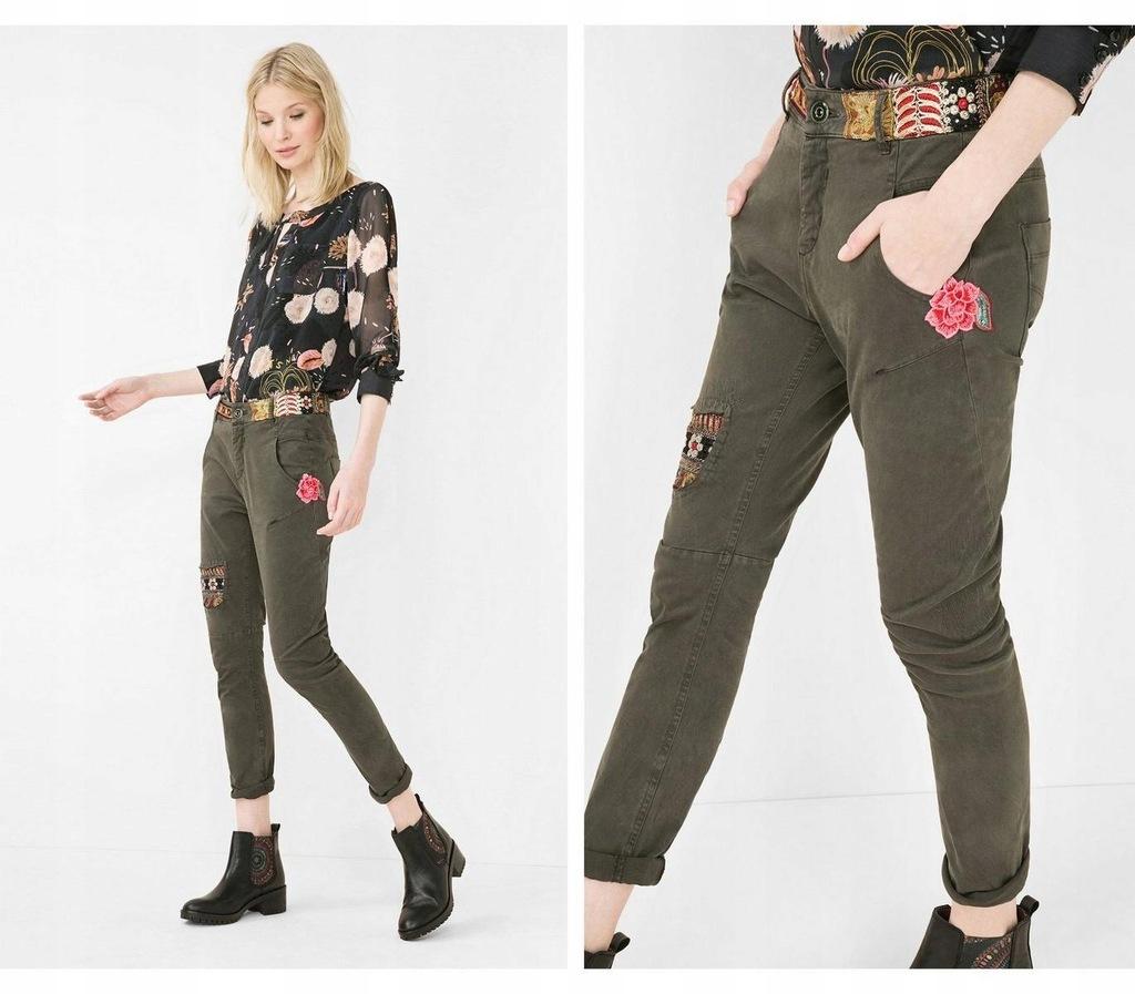 Spodnie ciemny khaki hafty (26)