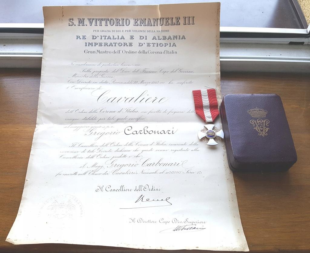 Włochy ,Order Korony ,z pudełko i dokument nadania