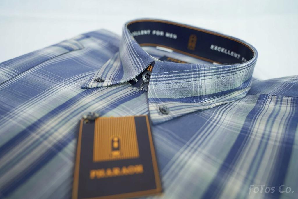 Granatowa koszula w kratę z kr. rękawem 176-182 41