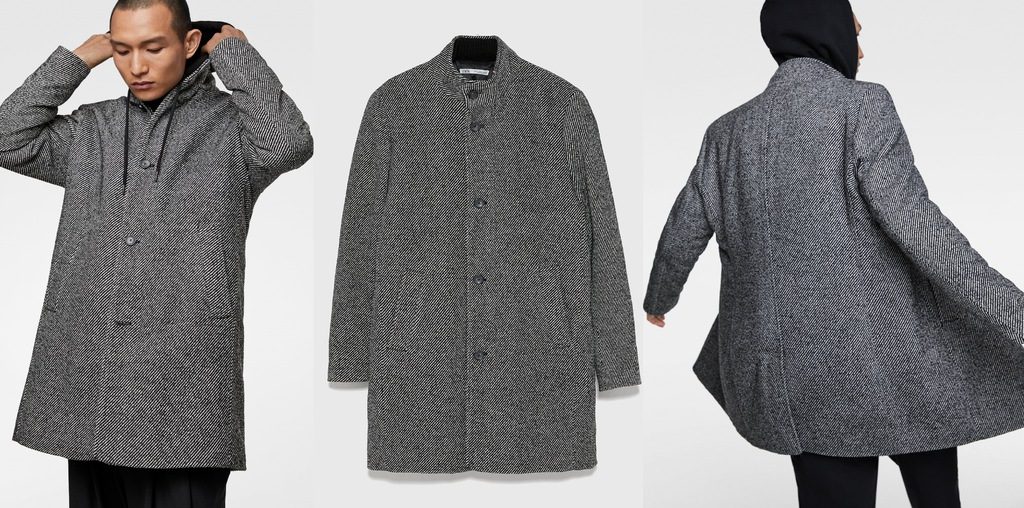 ZARA męski płaszcz jodełkowy zimowy klasyczny M