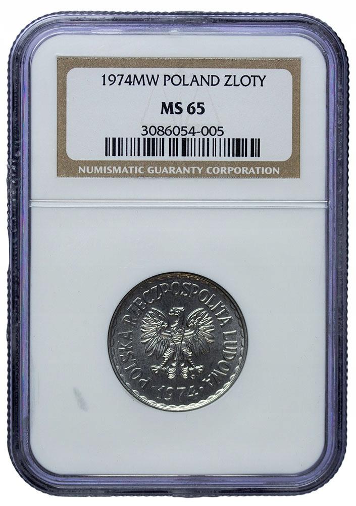 Polska 1 Złoty 1974 - NGC MS65