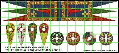 Saxon Banner and Shields - naklejki SAGA