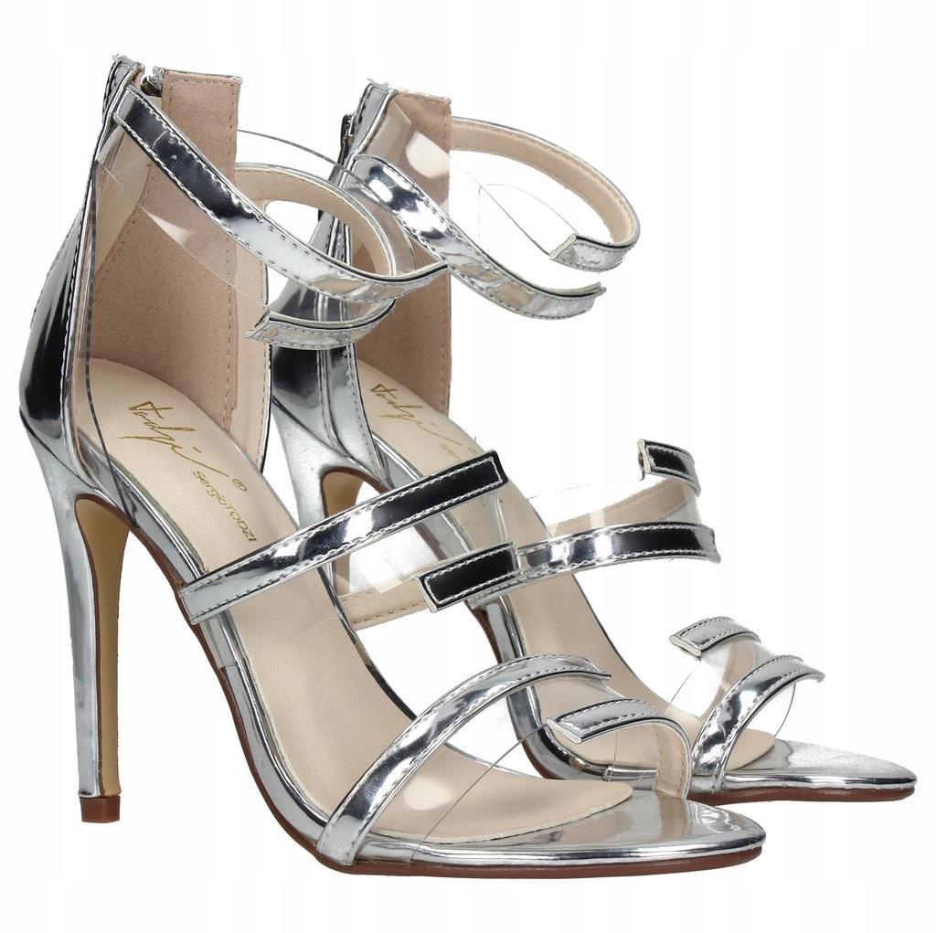 Złote metaliczne sandały na szpilce Sparra DeeZee w Domodi