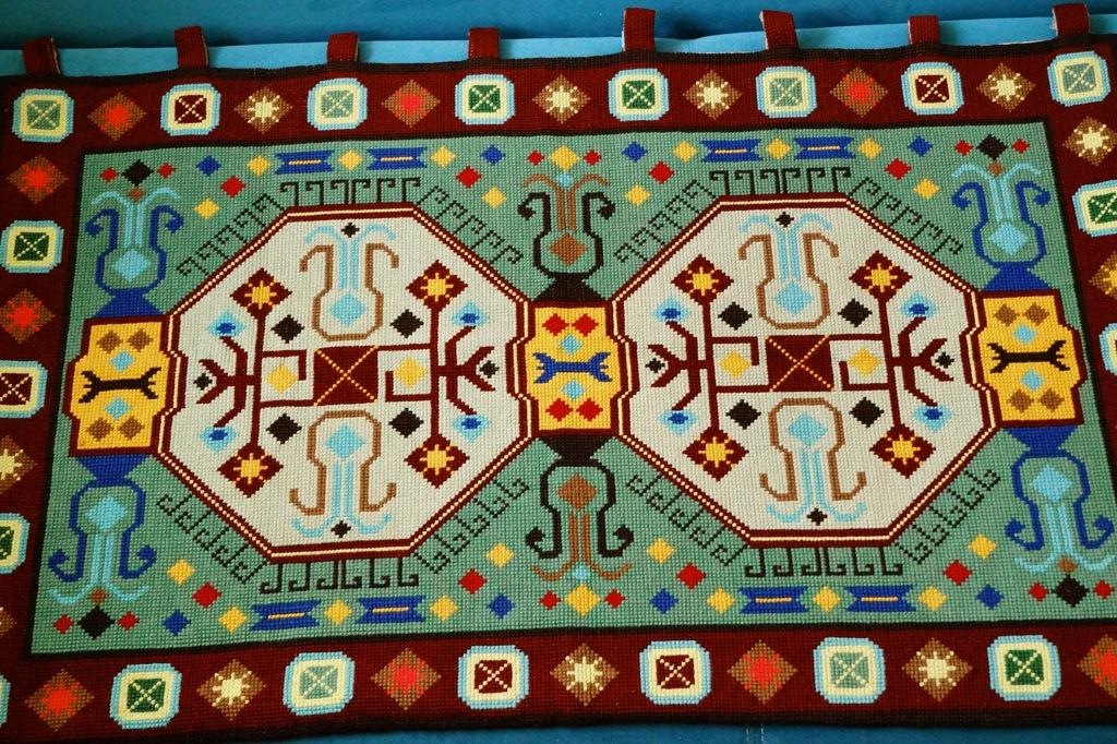 Stary ręcznie kilim art deco makata gobelin