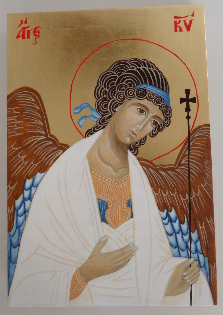 Anioł Stróż (2), ikona na desce