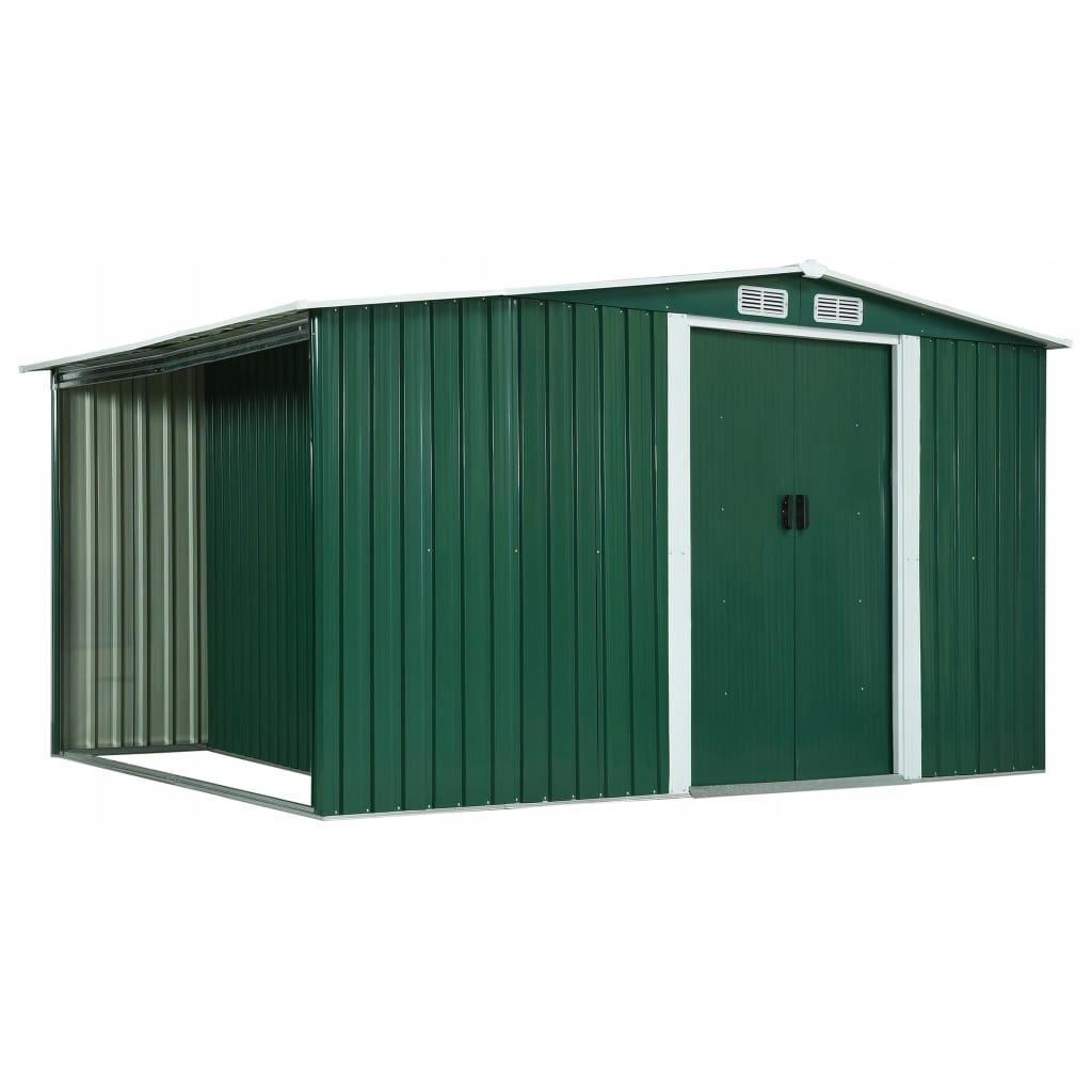 Szopa z drzwiami przesuwnymi, zielona, stal, 329,5