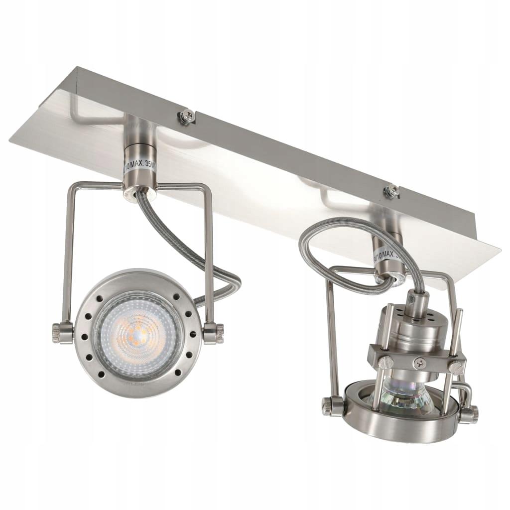 Lampa z 2 reflektorami, srebrna, GU10, 32x6x18 cm