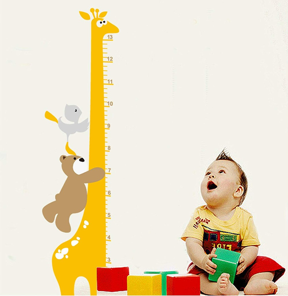 Naklejki na ścianę Miarka Wzrostu Żyrafa+Miś