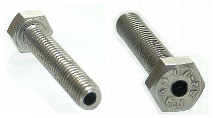 Śruba drążona na wylot M5x25 x2,5 DIN933 INOX A2