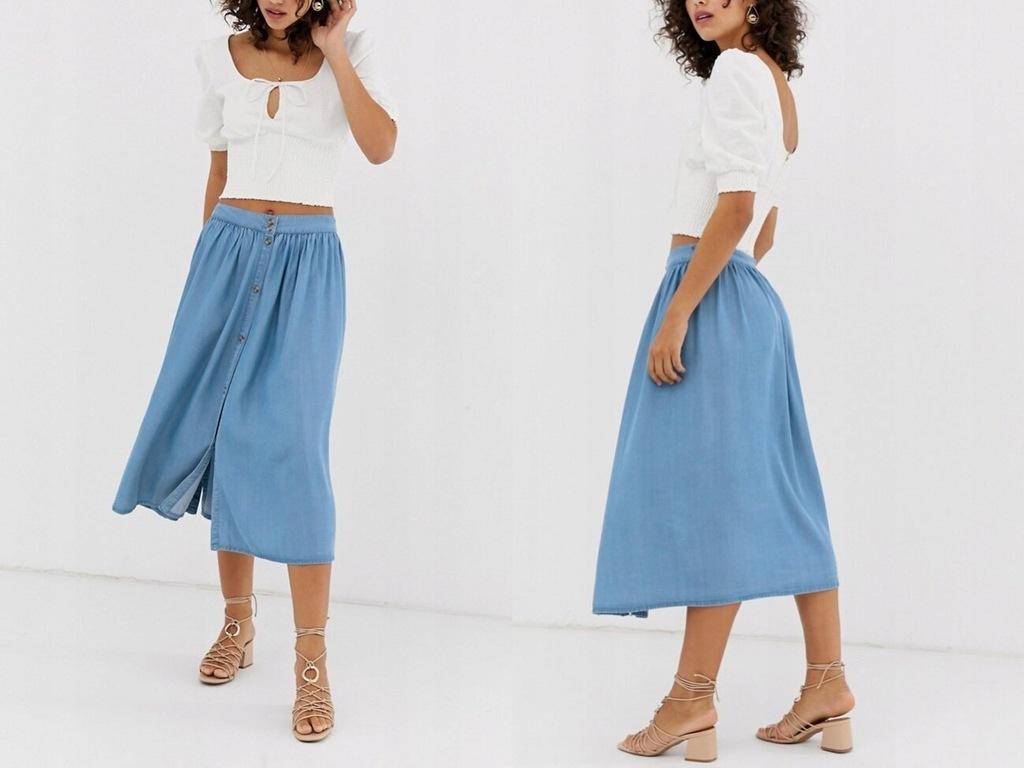 Vero Moda - spódnica midi z guzikami jeans S/36