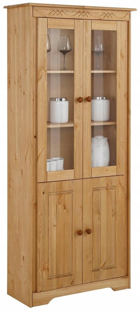 Drewniana witryna z dużą ilością miejsca, sosnowa