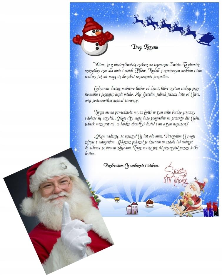 List Od Swietego Mikolaja Zdjecie Prezent 9949663596 Oficjalne Archiwum Allegro