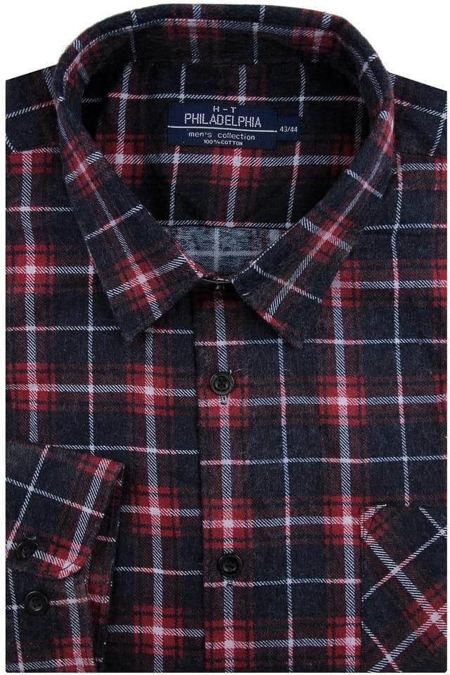 Koszula Męska flanelowa bordowa w kratę A257 8556958717  eowBI