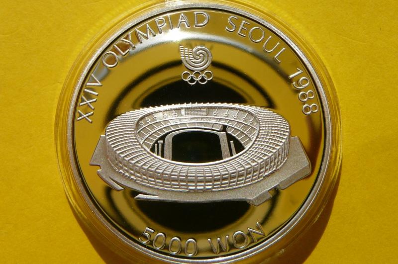 5000 WON KOREA 1987 STADION OLIMPIADA SEUL -Ag 925