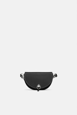 Zara skórzana torebka na pas nerka czarna biodrowa