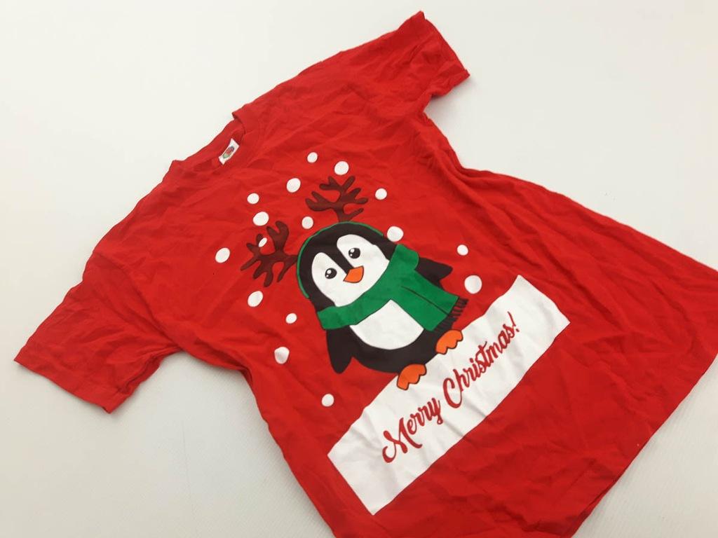 FRUIT OF THE LOOM świąteczna BLUZKA z pingwinem S