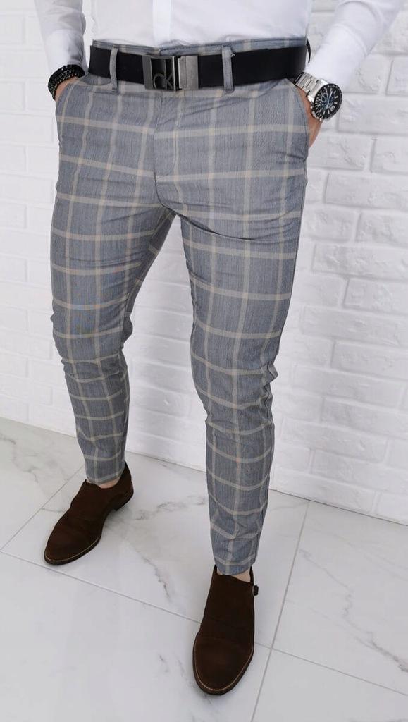 Szare eleganckie spodnie w duza zolta krate 36