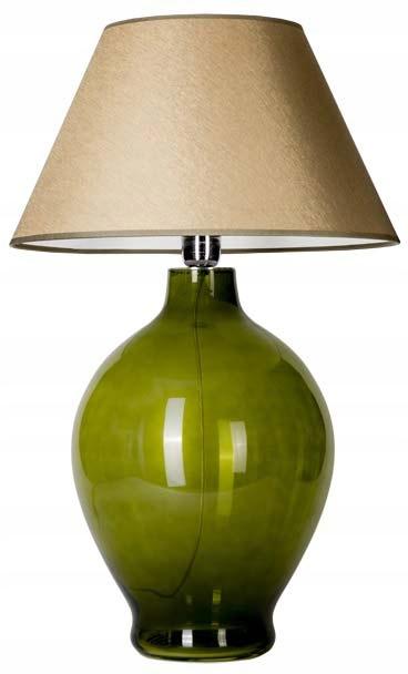 Lampa stołowa szklana zielona z oliwkowym abażurem