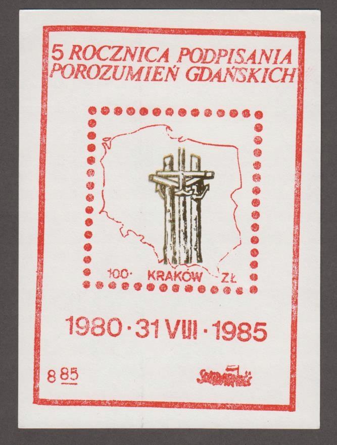SOLIDARNOŚĆ - RZADKI WALOR - BLOK - KRAKÓW '85