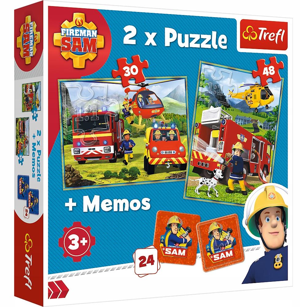 Puzzle 2w1 + GRA MEMO Strażak Sam ZESTAW