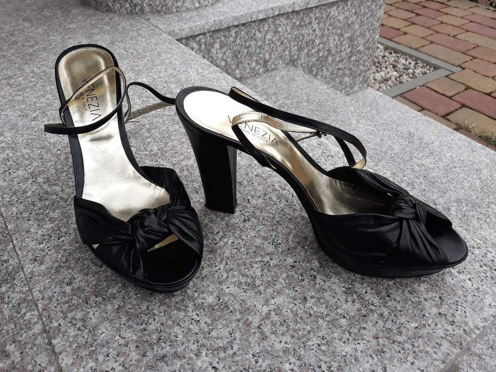 VENEZIA nr 40 włoskie sandały platformy skóra nowe