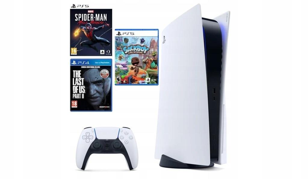PlayStation 5 napęd Blu-Ray + 3 gry zestaw
