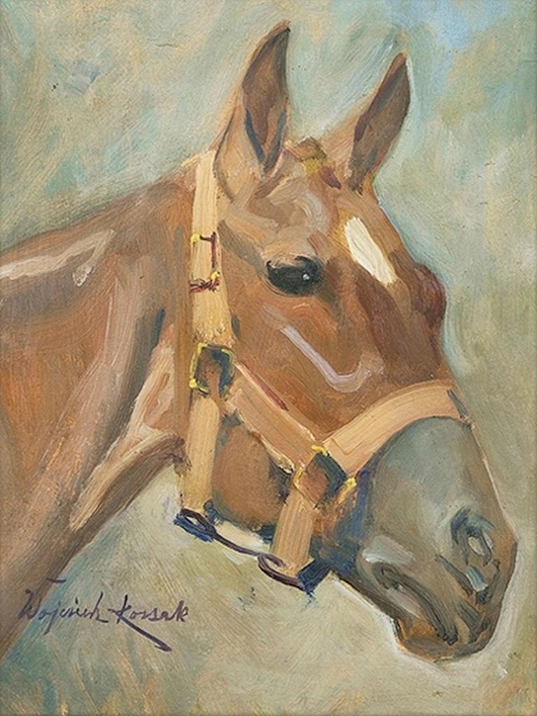 Obraz na bawełnie 30x20cm W. Kossak Głowa konia