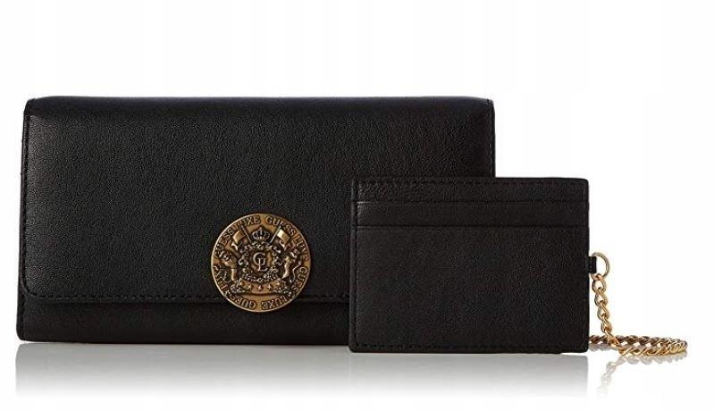 Oryginalny portfel GUESS LUXE ATLAS skórzany czarn