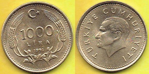 TURCJA 1000 Lira 1991 r.