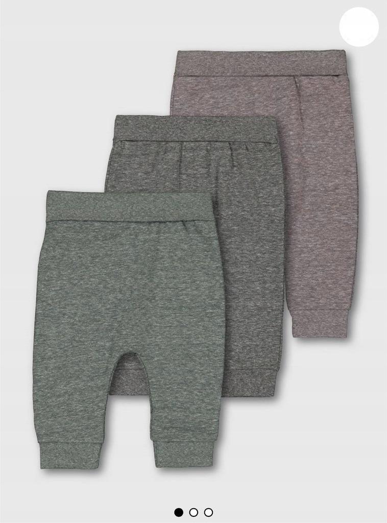 Spodnie joggersy 3pak 12-18 m-cy 86 TU