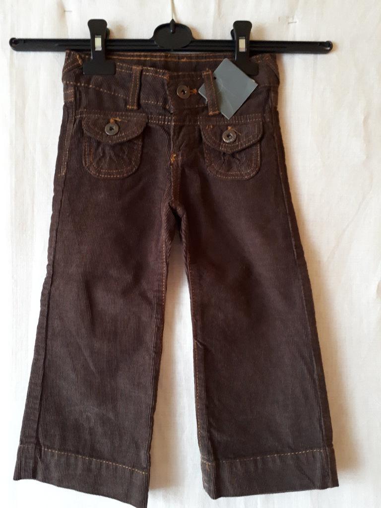 ZARA Girls brązowe sztruksowe spodnie 98 cm